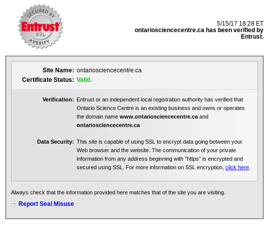 Entrust assures you it's safe to use this fine SSL-encrypted website.