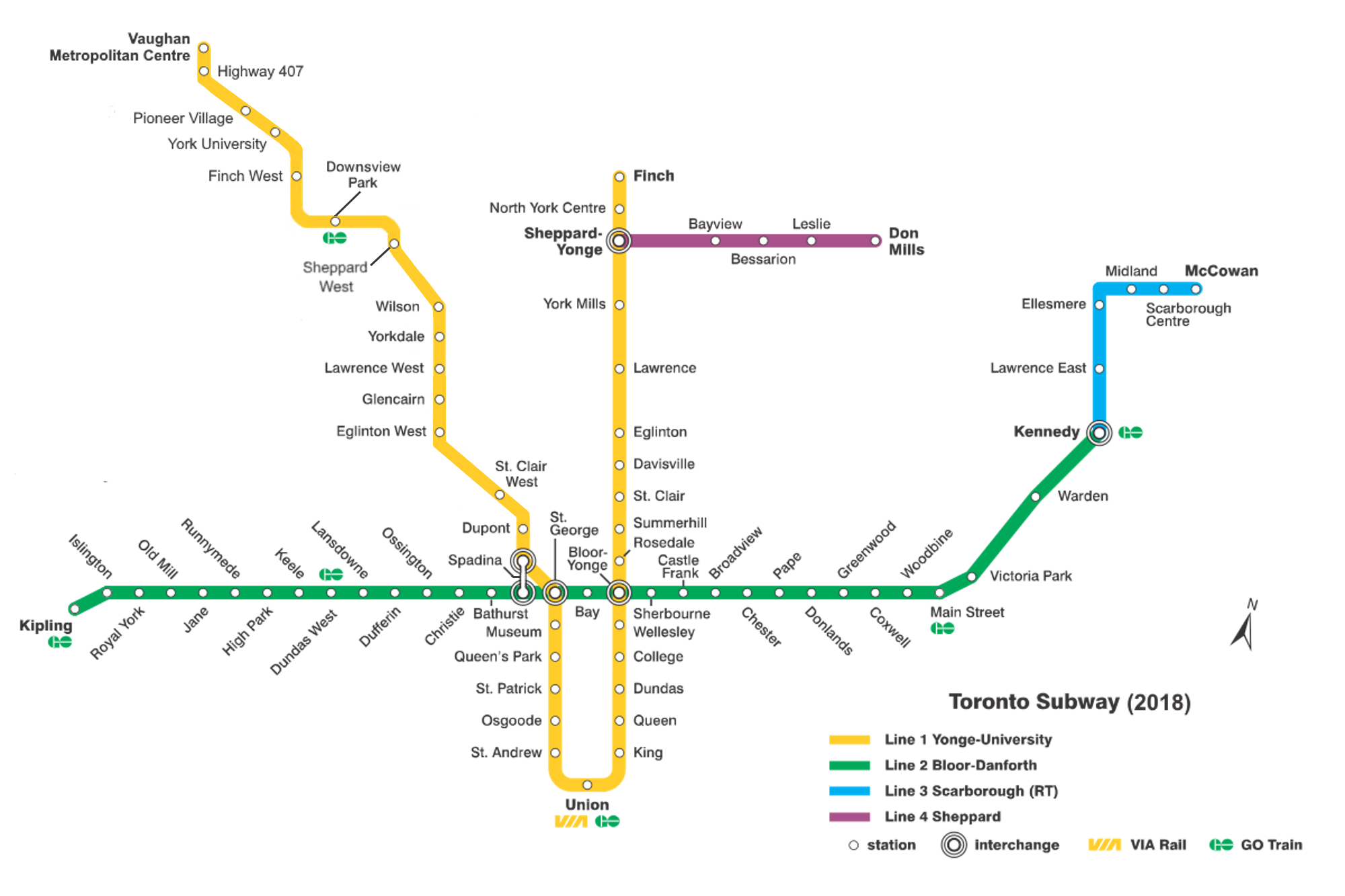 the Toronto subway map (fairly simple)