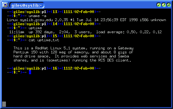 Screenshot of a machine with 392 days uptime