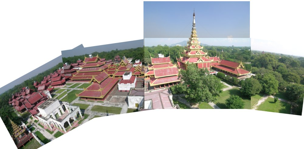 five photos patchworked together (badly) to show Mandalay Fort from the watchtower