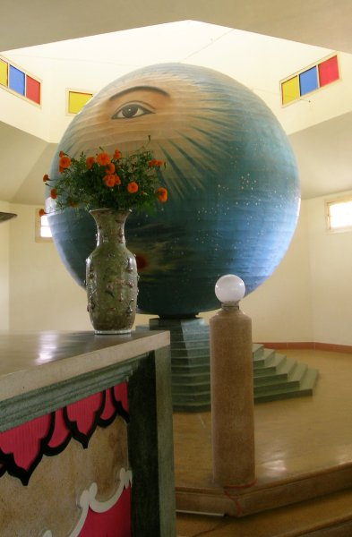 Sphere behind the Cao Đài temple altar
