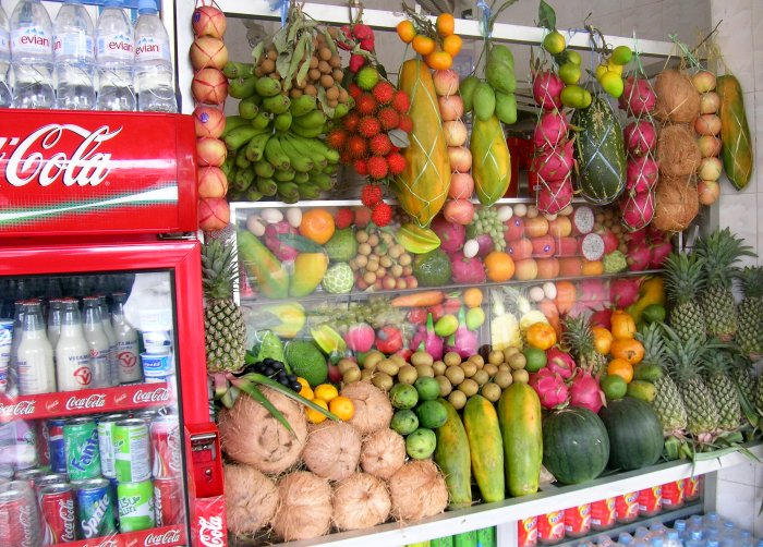 An incredible selection of fruit ready to make shakes for you at the White Rose