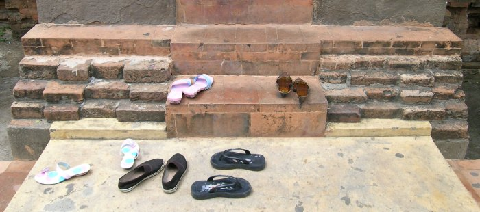 Shoes left on the temple steps