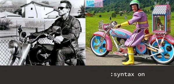 "Vim without colours is Arnold Schwarzenegger on a motorcycle; vim with "":syntax on"" is ... colourful."